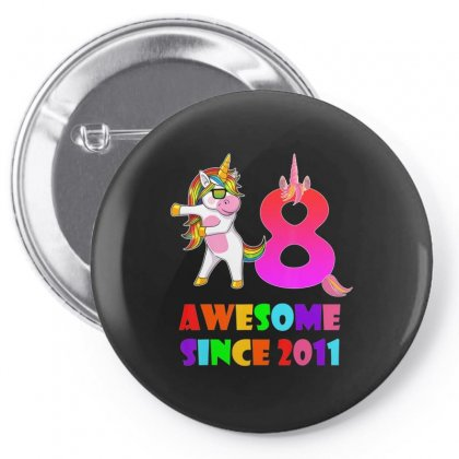 8 Years Old 8th Birthday Unicorn Floss Shirt Girl Gift Party Pin-back Button Designed By Tran Ngoc
