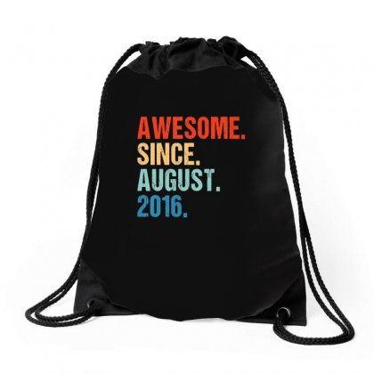 Kids Awesome Since August 2016 3rd Birthday Gift 3 Yrs Old Shirt T Shi Drawstring Bags Designed By Tran Ngoc