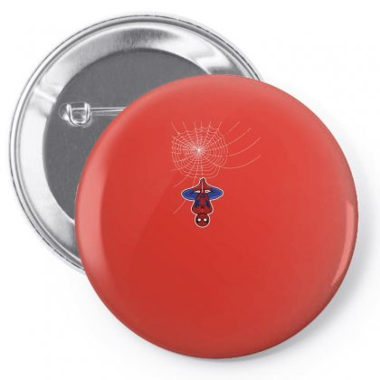Spiderman Is Above The Web For Dark Pin-back Button Designed By Seda
