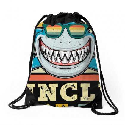 Retro Vintage Uncle Shark Tshirt Funny Birthday Gifts Family Drawstring Bags Designed By Nhan