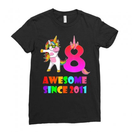 8 Years Old 8th Birthday Unicorn Floss Shirt Girl Gift Party Ladies Fitted T-shirt Designed By Nhan