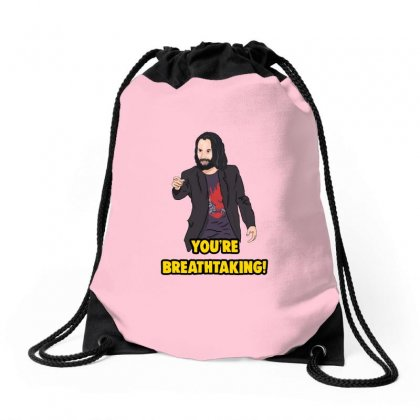 You Are Breathtaking Keanu Reeves Drawstring Bags Designed By Doniemichael