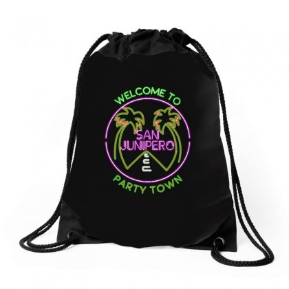 Welcome To San Junipero Drawstring Bags Designed By Blqs Apparel