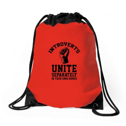 Introverts Unite Drawstring Bags Designed By Titis