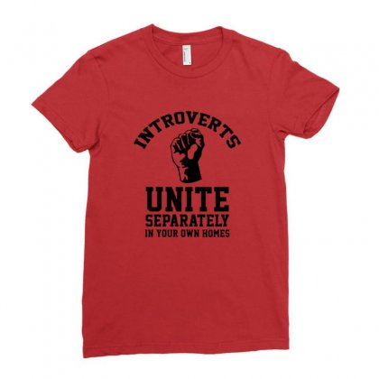 Introverts Unite Ladies Fitted T-shirt Designed By Titis