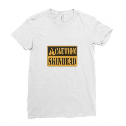 Caution Skinhead Ladies Fitted T-shirt Designed By Ismi