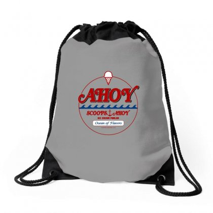 Scoops Ahoy Ice Cream Shop Drawstring Bags Designed By Titis