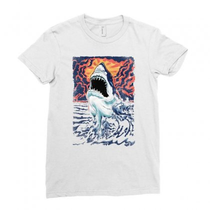 Great Shark Vintage Ladies Fitted T-shirt Designed By Mirazjason