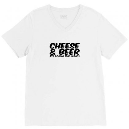 Cheese & Beer V-neck Tee Designed By Ismi