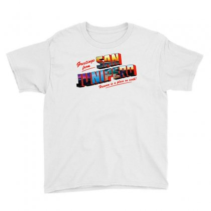 Greeting From San Junipero Youth Tee Designed By Blqs Apparel