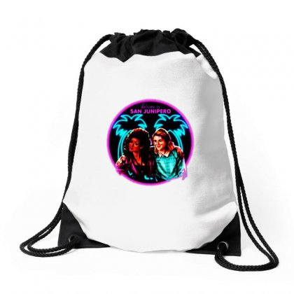 Welcome To San Junipero   Neon Drawstring Bags Designed By Blqs Apparel