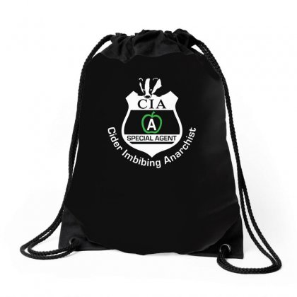 Cia Badge Cider Imbibing Anarchist With Badge Drawstring Bags Designed By Funtee