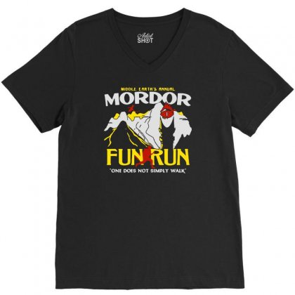Mordor Fun Run V-neck Tee Designed By Mirazjason