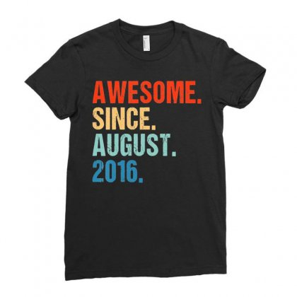 Kids Awesome Since August 2016 3rd Birthday Gift 3 Yrs Old Shirt T Shi Ladies Fitted T-shirt Designed By Nhan