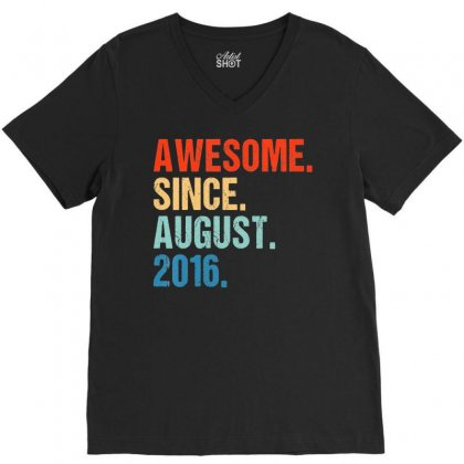 Kids Awesome Since August 2016 3rd Birthday Gift 3 Yrs Old Shirt T Shi V-neck Tee Designed By Nhan