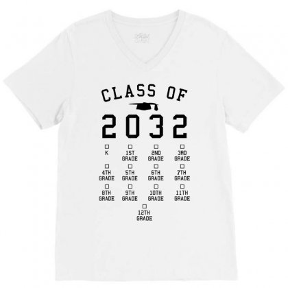 Class Of 2032 Grow With Me Shirt With Space For Checkmarks V-neck Tee Designed By Nhan