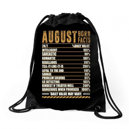 August Born Facts Drawstring Bags Designed By Omer Acar