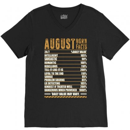 August Born Facts V-neck Tee Designed By Omer Acar