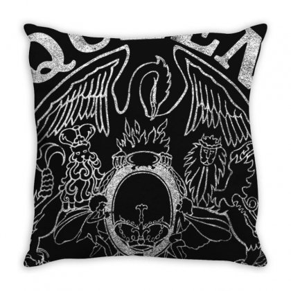 Queen Official Tour 75 Crest Throw Pillow Designed By Mdk Art