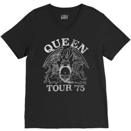 Queen Official Tour 75 Crest V-neck Tee Designed By Nhan