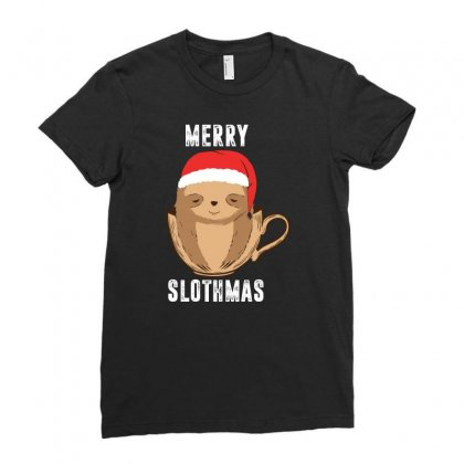 Christmas Sloth Ladies Fitted T-shirt Designed By Omer Acar