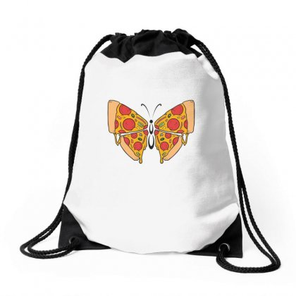 Pizza Butterfly   Illustration Drawstring Bags Designed By Omer Acar
