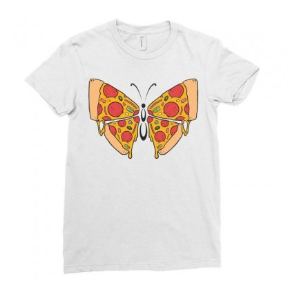 Pizza Butterfly   Illustration Ladies Fitted T-shirt Designed By Omer Acar