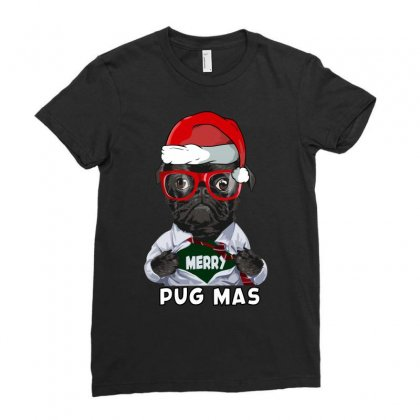 Funny Christmas Gift Merry Pug Mas Ladies Fitted T-shirt Designed By Omer Acar