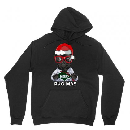 Funny Christmas Gift Merry Pug Mas Unisex Hoodie Designed By Omer Acar