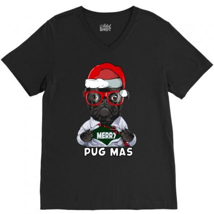 Funny Christmas Gift Merry Pug Mas V-neck Tee Designed By Omer Acar