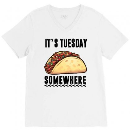 Lebron James Taco Tuesday It's Tuesday Somewhere V-neck Tee Designed By Omer Acar