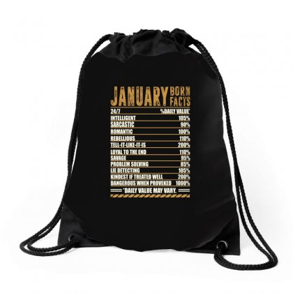 January Born Facts Drawstring Bags Designed By Omer Acar
