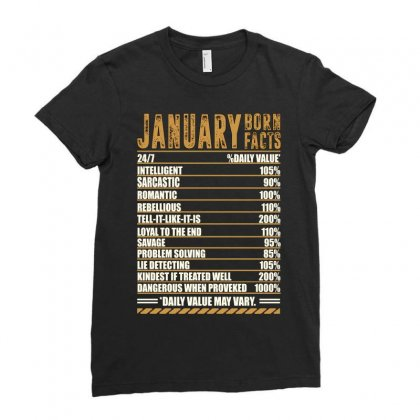 January Born Facts Ladies Fitted T-shirt Designed By Omer Acar