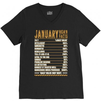 January Born Facts V-neck Tee Designed By Omer Acar