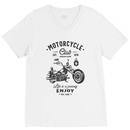 Motorcycle Club V-neck Tee Designed By Cidolopez