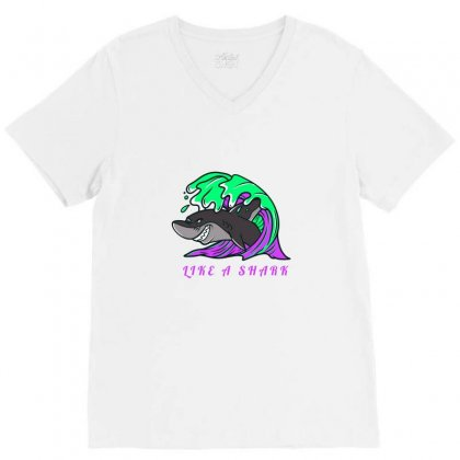 Like A Shark V-neck Tee Designed By Samantha