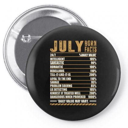 July Born Facts Pin-back Button Designed By Omer Acar