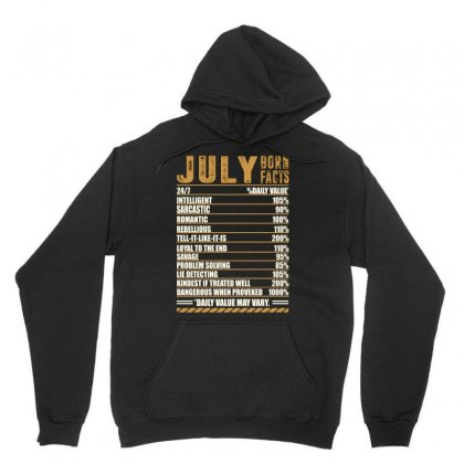 July Born Facts Unisex Hoodie Designed By Omer Acar