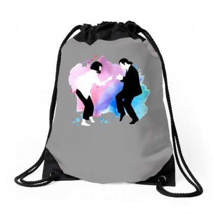 Pulp Fiction Black And White Drawstring Bags Designed By Hasret