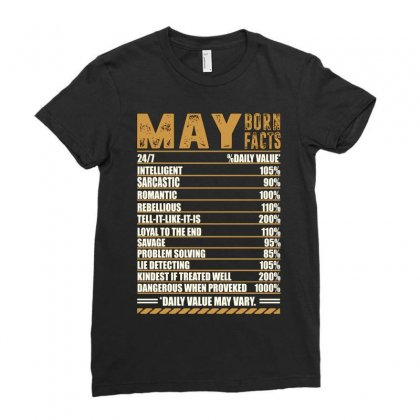 May Born Facts Ladies Fitted T-shirt Designed By Omer Acar