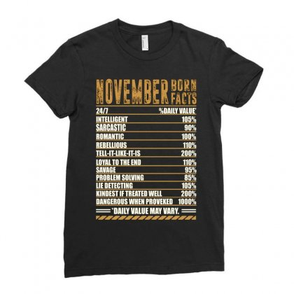 November Born Facts Ladies Fitted T-shirt Designed By Omer Acar