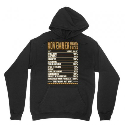 November Born Facts Unisex Hoodie Designed By Omer Acar