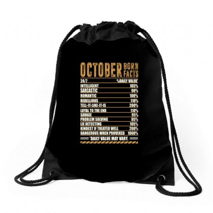 October Born Facts Drawstring Bags Designed By Omer Acar