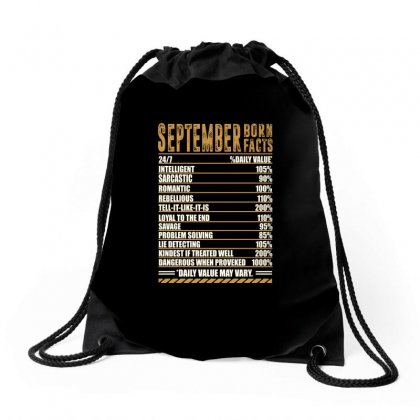 September Born Facts Drawstring Bags Designed By Omer Acar