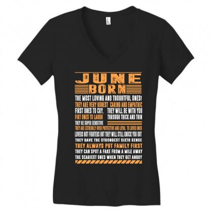 June Born Tshirt Women's V-neck T-shirt Designed By Omer Acar