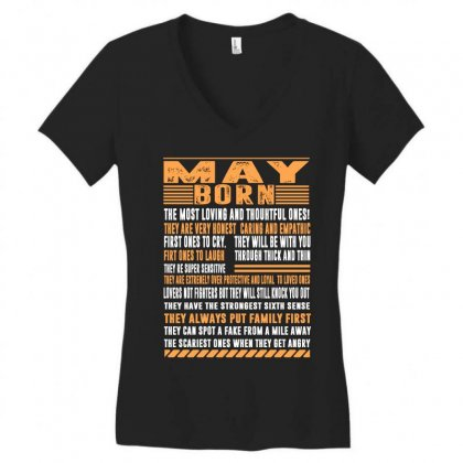 May Born Tshirt Women's V-neck T-shirt Designed By Omer Acar