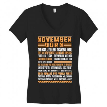 November Born Tshirt Women's V-neck T-shirt Designed By Omer Acar