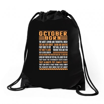 October Born Tshirt Drawstring Bags Designed By Omer Acar