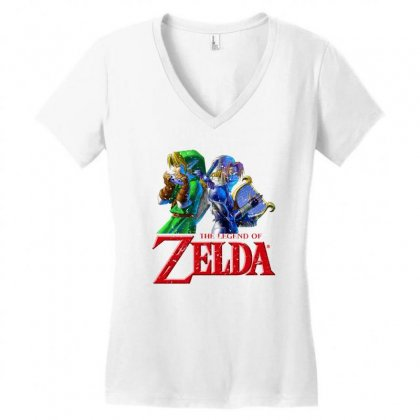 The Legend Of Zelda Women's V-neck T-shirt Designed By Seda