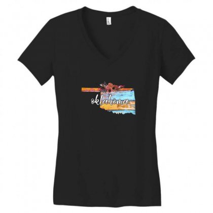 Oklahoma For Dark Women's V-neck T-shirt Designed By Sengul